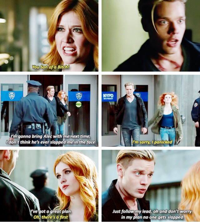 Jace's face when Clary slapped him. Lol😂
