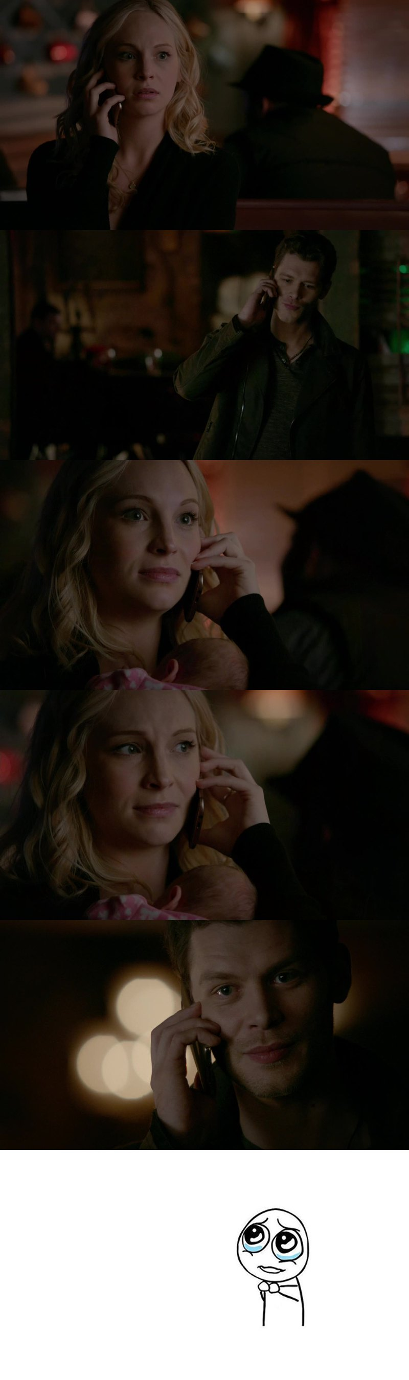 """""""Hello, love""""  Let's talk about Caroline's face when she recognizes Klaus' voice.  Let's talk about the parallels: 5x11 Caroline: """"I'm in college. I'm building a life for myself. I have plans and a future and things that I want"""" 7x14 Klaus: """"So, here you are, in college, building a life for yourself, plans, a future, things that you want""""  Let's talk about how neither of them forgot anything that happened, you can read it in their eyes.  Let's talk about how Klaus is willing to change his mind about helping Stefan because of her, because of her happiness, again; how he is willing to put himself aside to put her happiness first.   Let's talk about """"It's not a crime to love what you cannot explain"""".  Let's talk about how Klaus pronounces """"Caroline"""", with his voice full of emotions.  Let's talk about the way Caroline's eyes are watering when Klaus says """"Goodbye, Caroline"""".  They're not giving up in each other, never in a million years.  """"He's your first love. I intend to be your last, HOWEVER LONG IT TAKES"""". And I will be here, waiting for them, however long it takes."""