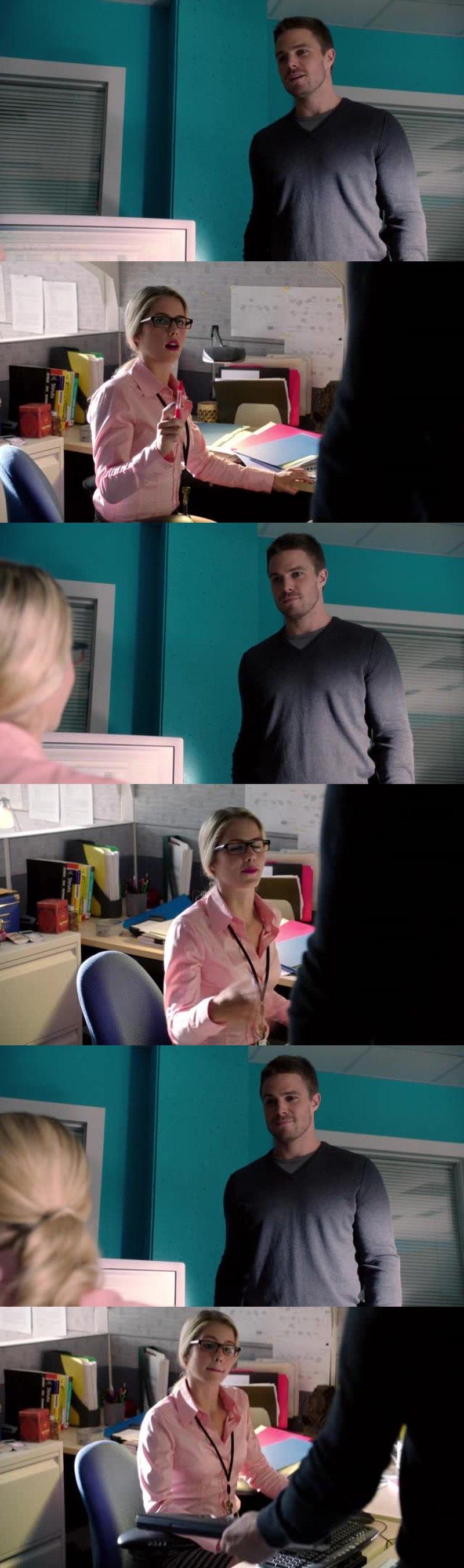 La rencontre Felicity et Oliver. L'une des meilleures scène de cette épisode.