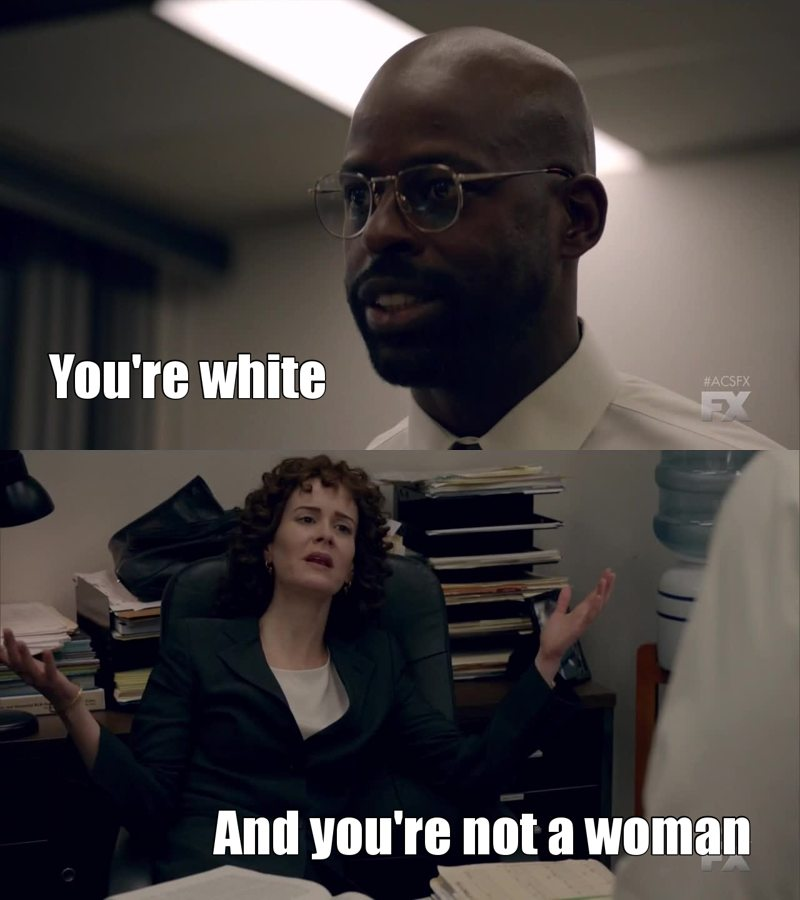 """Jeez I'm gonna go crazy. Every episode shows how biased American society is. I can't deal with this right now. Everyone here is always talking about race. Can you please stop just for one moment and think that you're talking to a woman?!? But no, only men have issues, no one cares that the lead prosecutor is a woman and that several times she was asked to smile or to wear more """"feminine"""" clothes."""