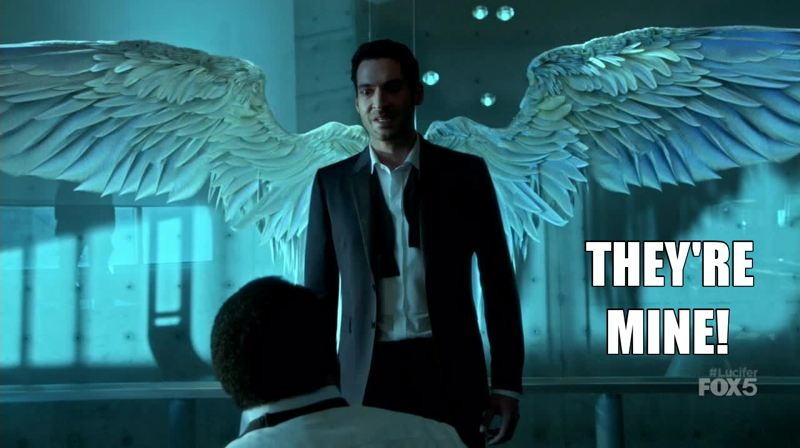Great scene. Letting us see Lucifer with his wings without giving up the premise. Brilliant!