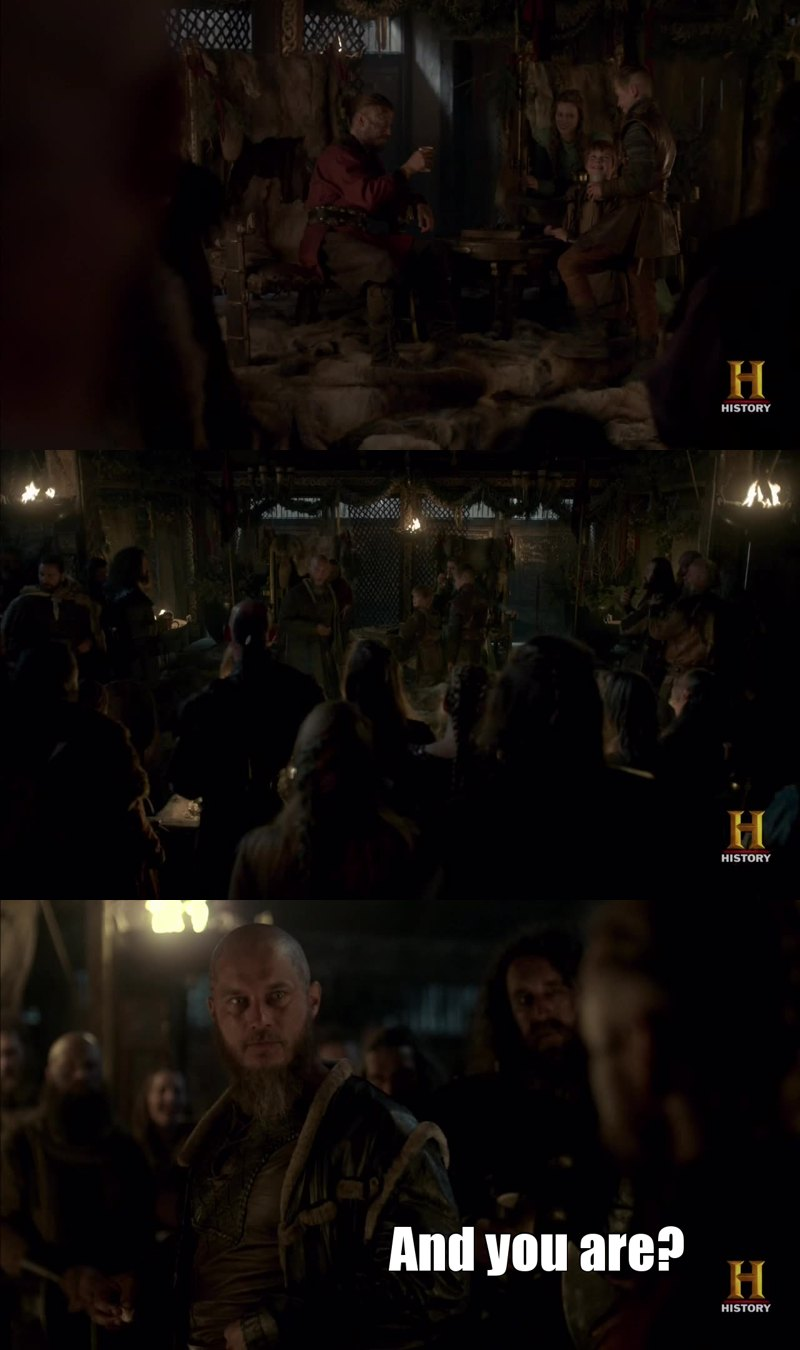 Let me tell you how intense that scene was. Some stranger sits on the King's throne, Ragnar arrives and no one moves nor talk. No one dares to make a move, they're all fearing Ragnar's reaction. He's always calm and of a cold anger and that scares the hell out of everyone, me included.