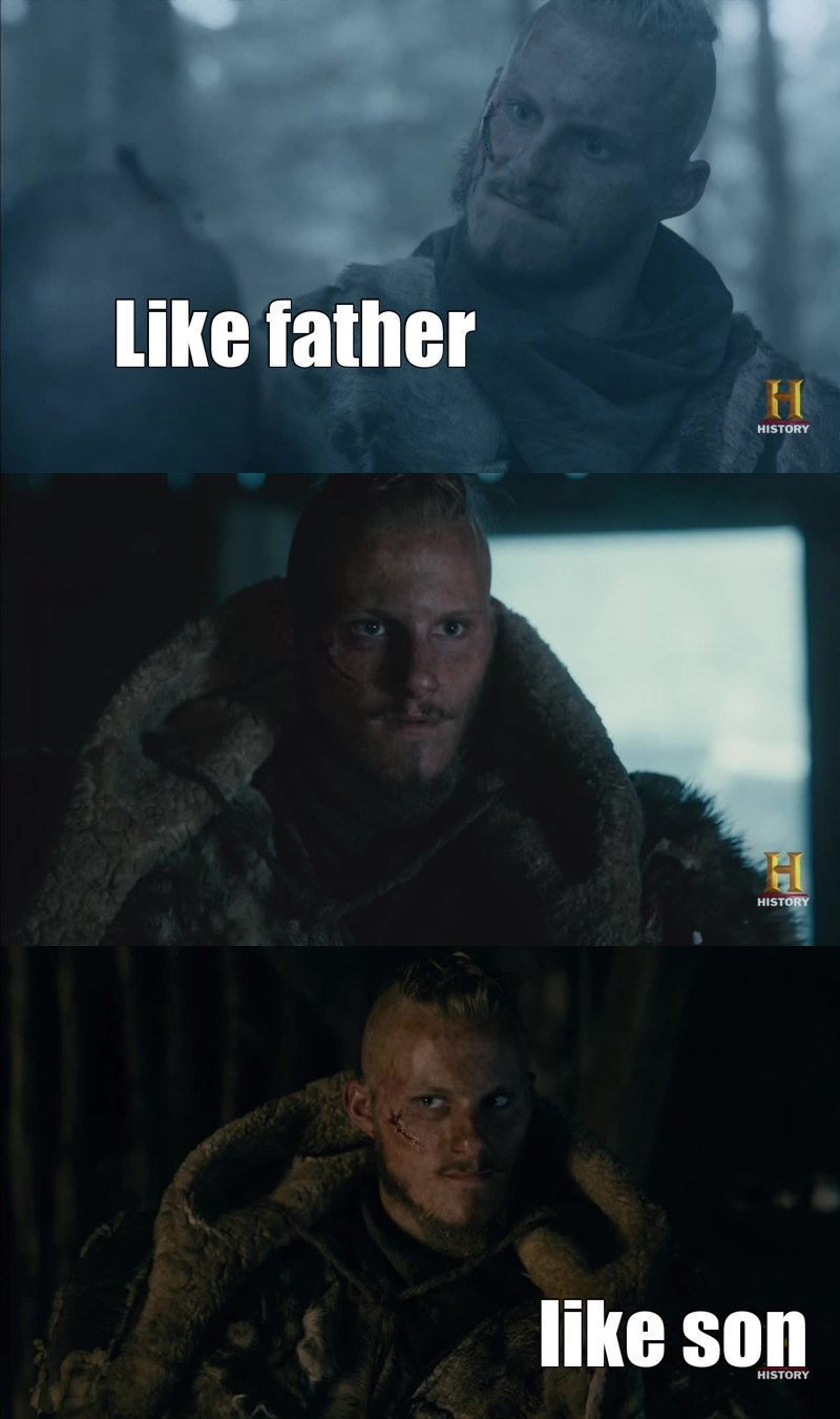 I've never loved Bjorn more before. He's a fighter, a surviver, a ruler, he's tough and fair and mighty. He's come wiser and learned to master his temper, that makes him able to wreak havoc.   Ragnar and Lagertha's son everyone, what a man.