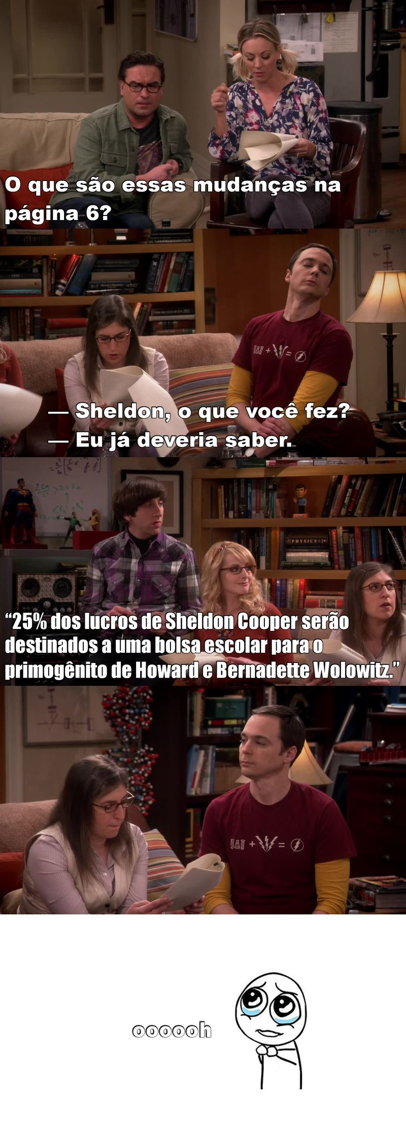 Sheldon , tão humano 😻 , oferecendo uma bolsa pro filho do Howard e a Bernadette 😍 ...