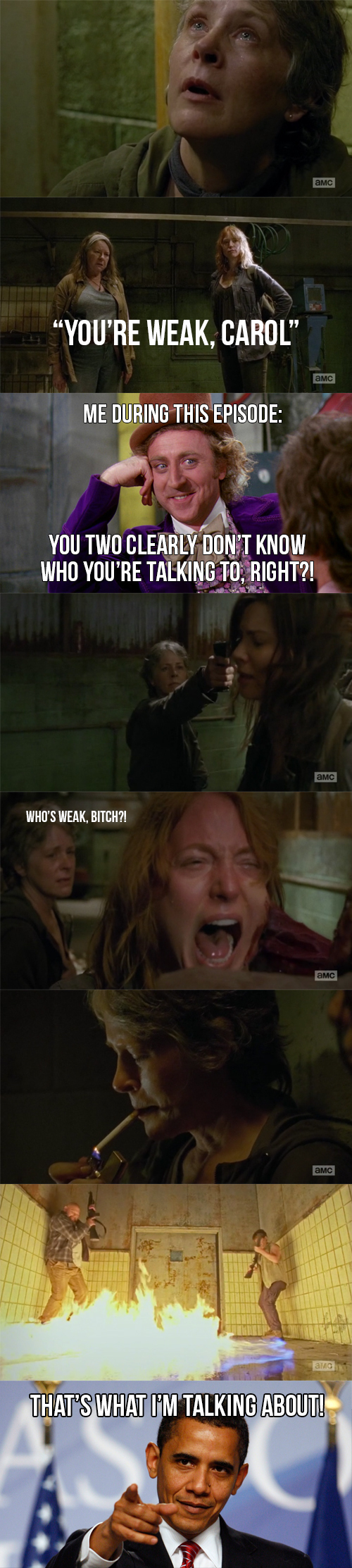 "HOLY CRAP! What an episode! That was literally my face during the whole thing, just calmly laughing while those people thought Carol was a fool, when she was actually playing with all them. She's definitely the best character of this show! Seriously, what a dense episode!   PS: It's been a while since I last gave ""WOW"" to a Walking Dead episode, but this one deserved so much!"