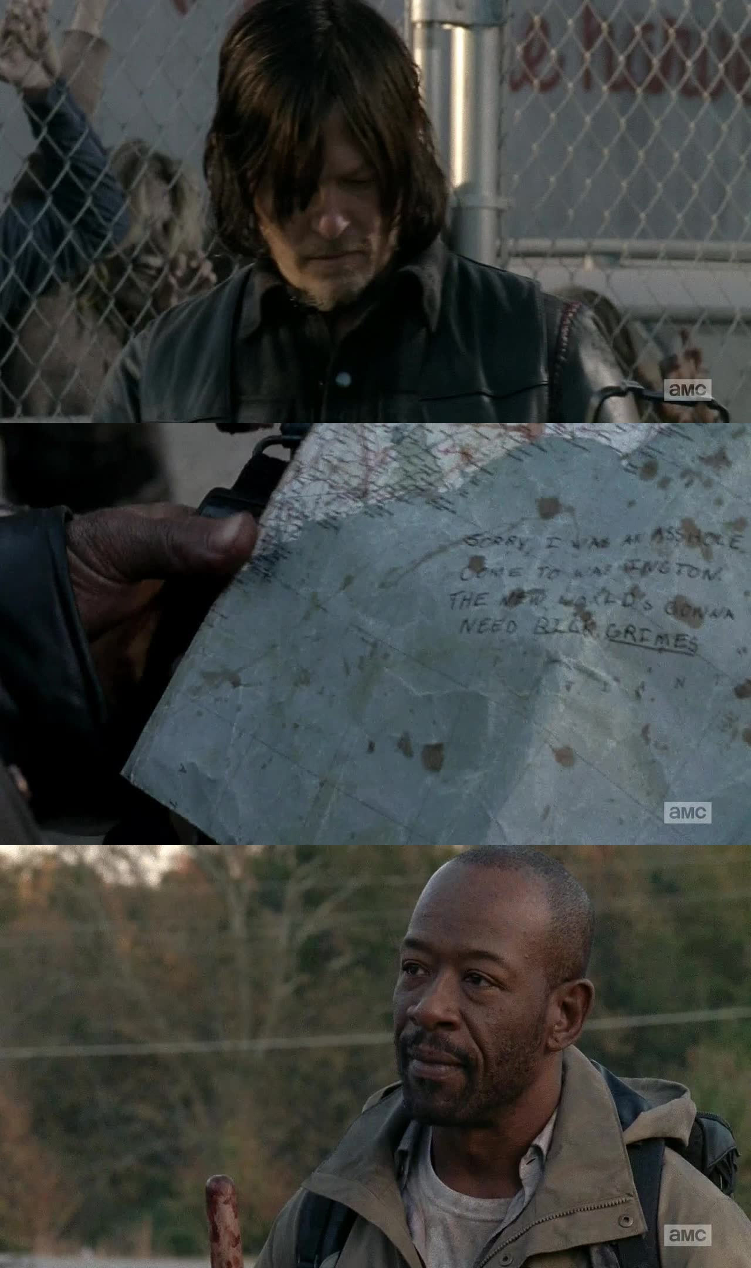 Okay so.. I am not sure what I really thought of this. It didn't completely seem like a season finale. A bit too slow. But I mean, The episode was still good. Just guess I expected more. I honestly thought Glenn or someone from the group, would die. Glad he didnt't of course. Good to see Morgan again, though.