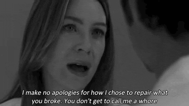 """I make no apologies"" Best speech ever , meredith💔"