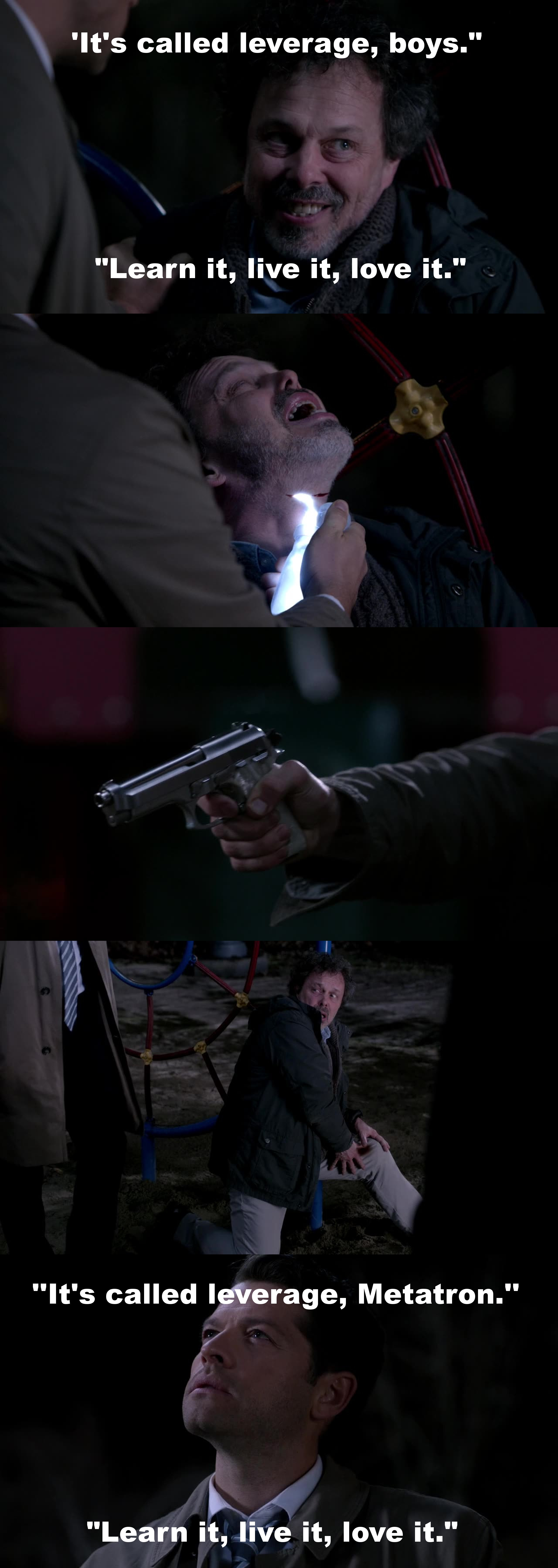 Finally, that son of a b*tch got what he deserved! Best scene of all the scenes containing Metatron so far.