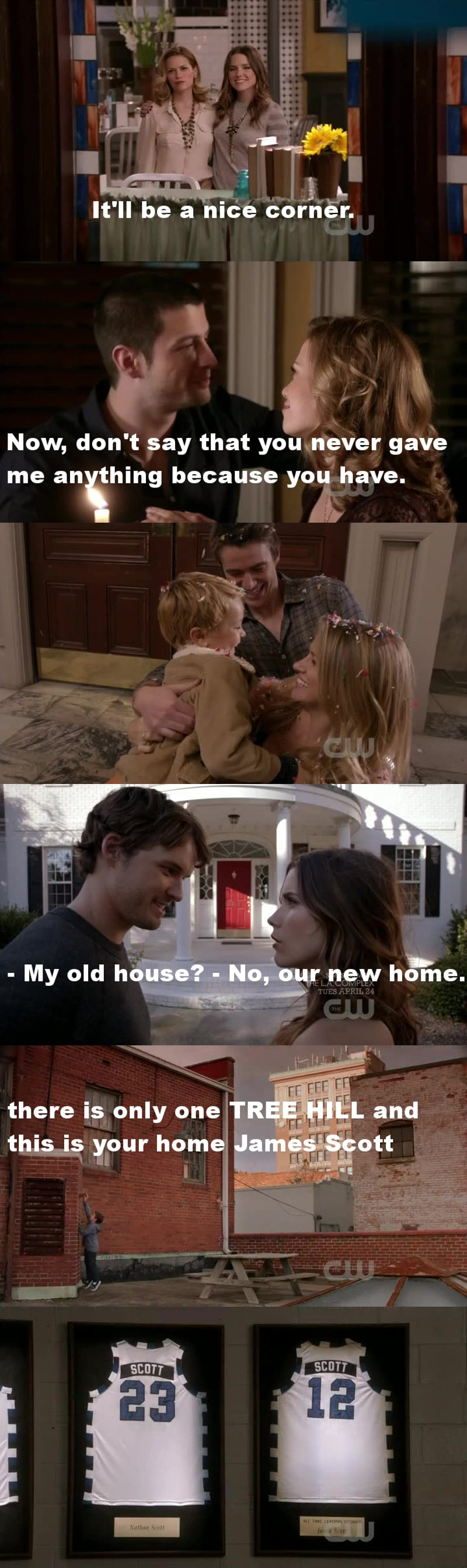 I cried all time I will miss this show so much. I started watching this a few years after the end of it but I really like it. He taught me that dreams will become true if we really believe in them. He taught me that every person could be forgiven and we should hold all people that make us feel better. OTH YOU WILL MISS A LOT.