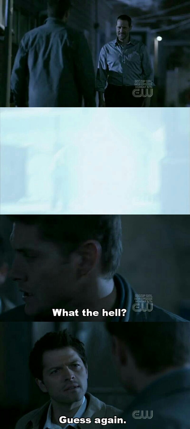 """Dean:""""What the hell?"""" Cas: """"Guess again """" I REALLY LOVE CASTIEL"""