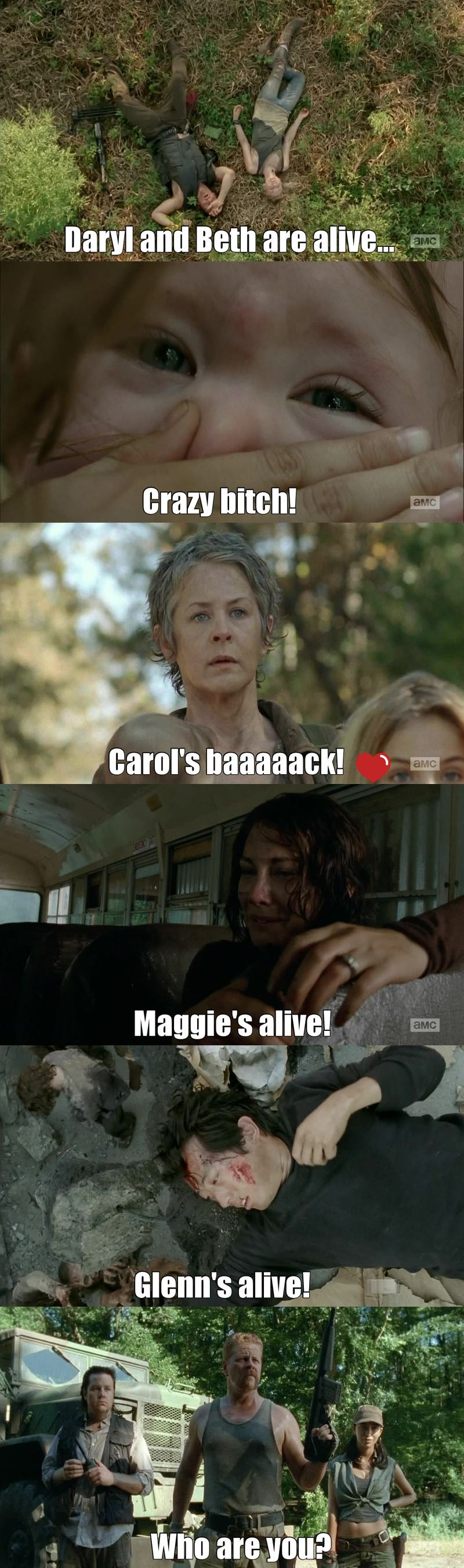 This episode was a relief, almost everyone is alive, Carol is back, they are gonna be fine.  I always thought that Lizzie was strange but this is too much even in this kind of situation... How can you do that???