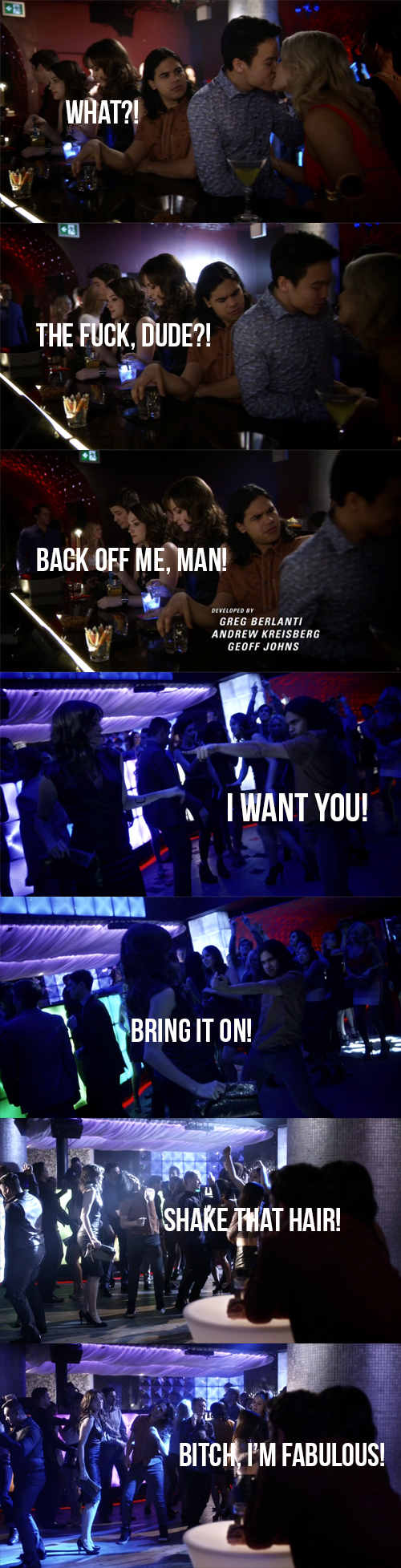 Can we take a moment to appreciate Cisco drunk at the club?! He was fabulous! I wanna hang out with him!  Unless he's not the real Cisco, but Jay Garrick... who knows!