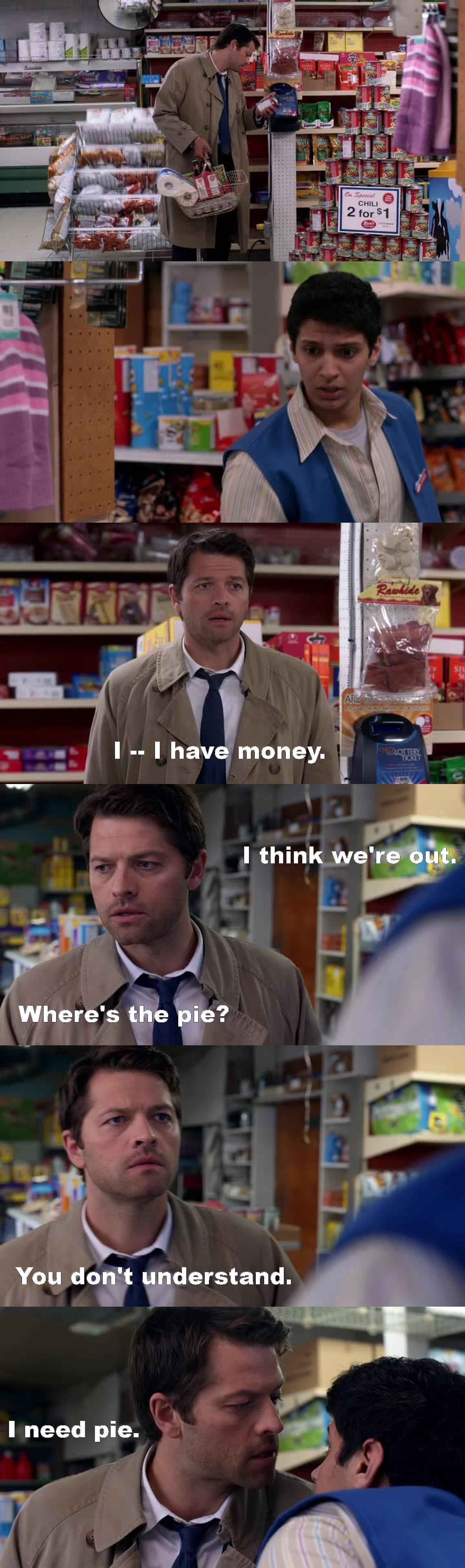 Cas at the supermarket buying all of Dean's favorite things was so funny! XD  But that thing with Metatron is not going to end well c_c   And I just love Crowley, I know he's wrong right now, but how can you not like him!   Aaaaaand Dean and Sammy should have picked another demon, it would be more easy I think.