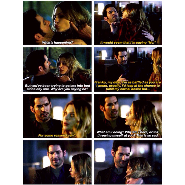 """You mean Detective Douche?"" OH SHIT YES CHLOE FINALLY YOU REALIZE IT Lucifer's trying to have some character growth and cuddles and Chloe just falls asleep on him. This is the best.😂 And Lucifer's ""oh god"" at the end is the best ever!  2 weeks. Two weeks. TWO BLOODY WEEKS I CANT EVEN HANDLE A WEEK NOW ITS TWO. AND ONLY THREE EPISODES LEFT 😕"