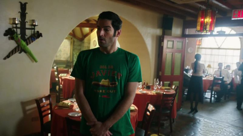 By far the most disturbing thing I've seen so far on this show: Lucifer in a t-shirt.