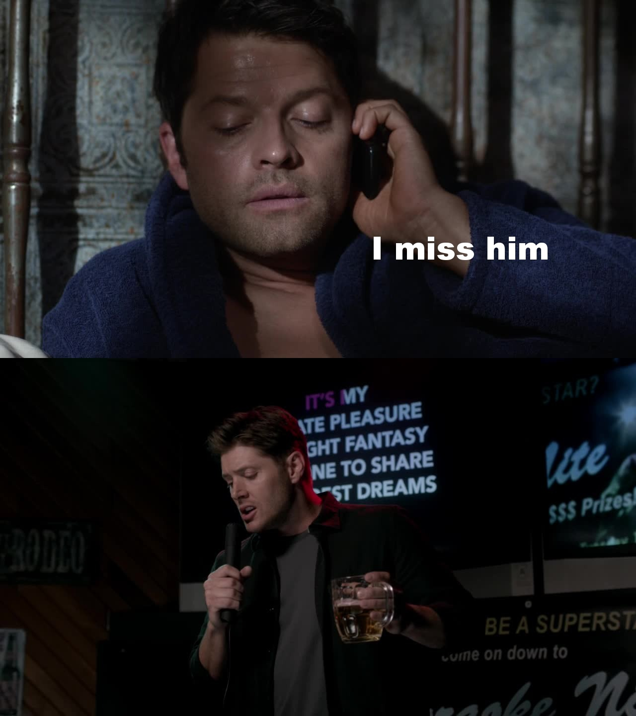 Castiel misses Dean, Dean has one night stands and go drunk singing, they're obviously in love!!! #Destiel