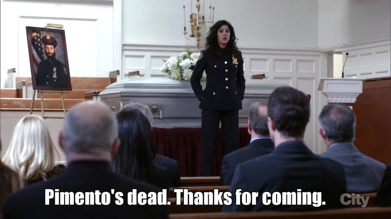 I loved how they incorporated Melissa's pregnancy in this episode but Rosa's eulogy made me laugh so hard!