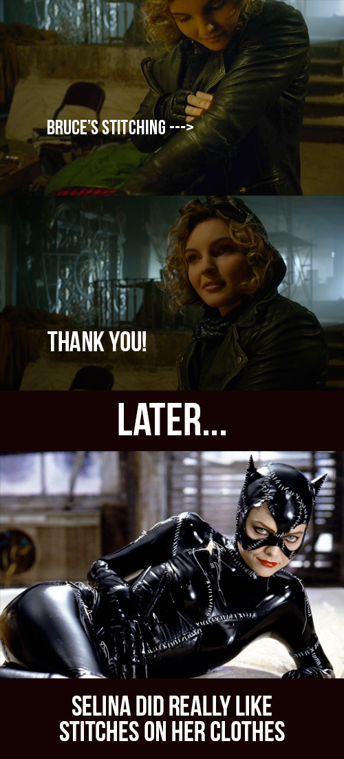 Bruce was the one behind her future costume (or past, cause that movie with Michelle Pfeiffer is old)  PS: Penguin was a freaking lunatic, serving the kids to their mother... DAMN!