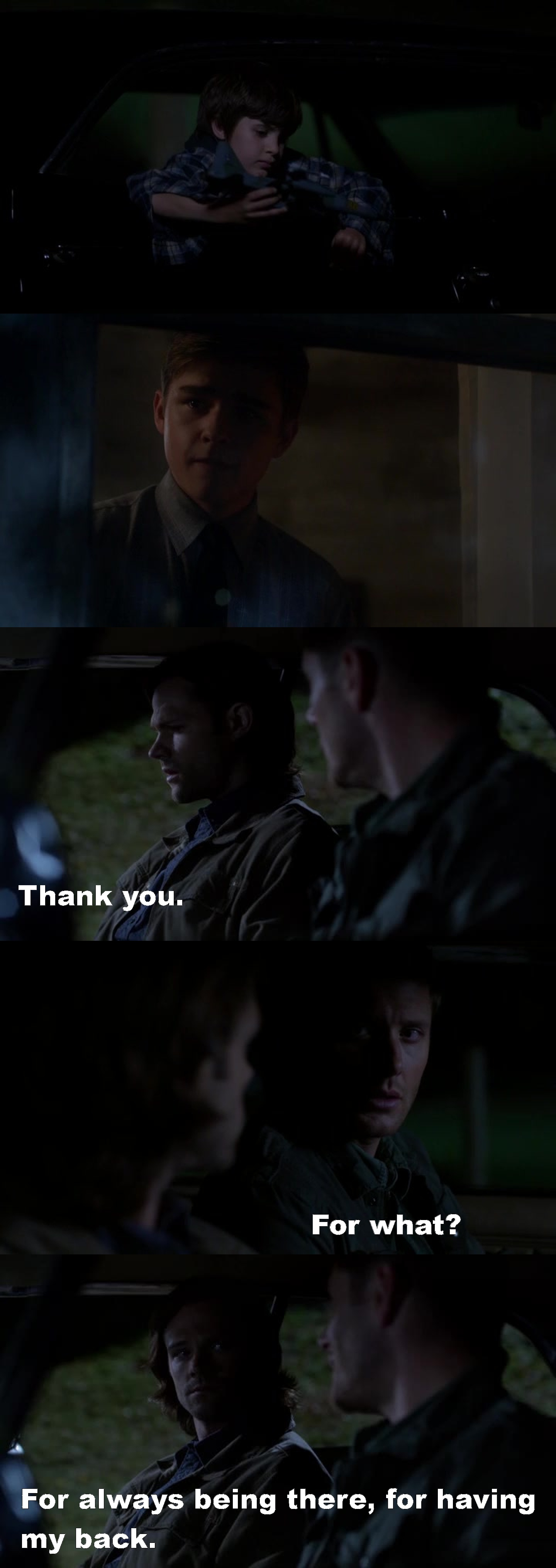 Why do they always make me cry at the end?? C_C   BTW I loved the episode, and I love to see Dean with kids, he's so cute!