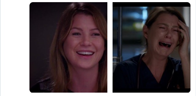 Me at the beginning on a episode of Grey's anatomy vs me at the end of Grey's anatomy