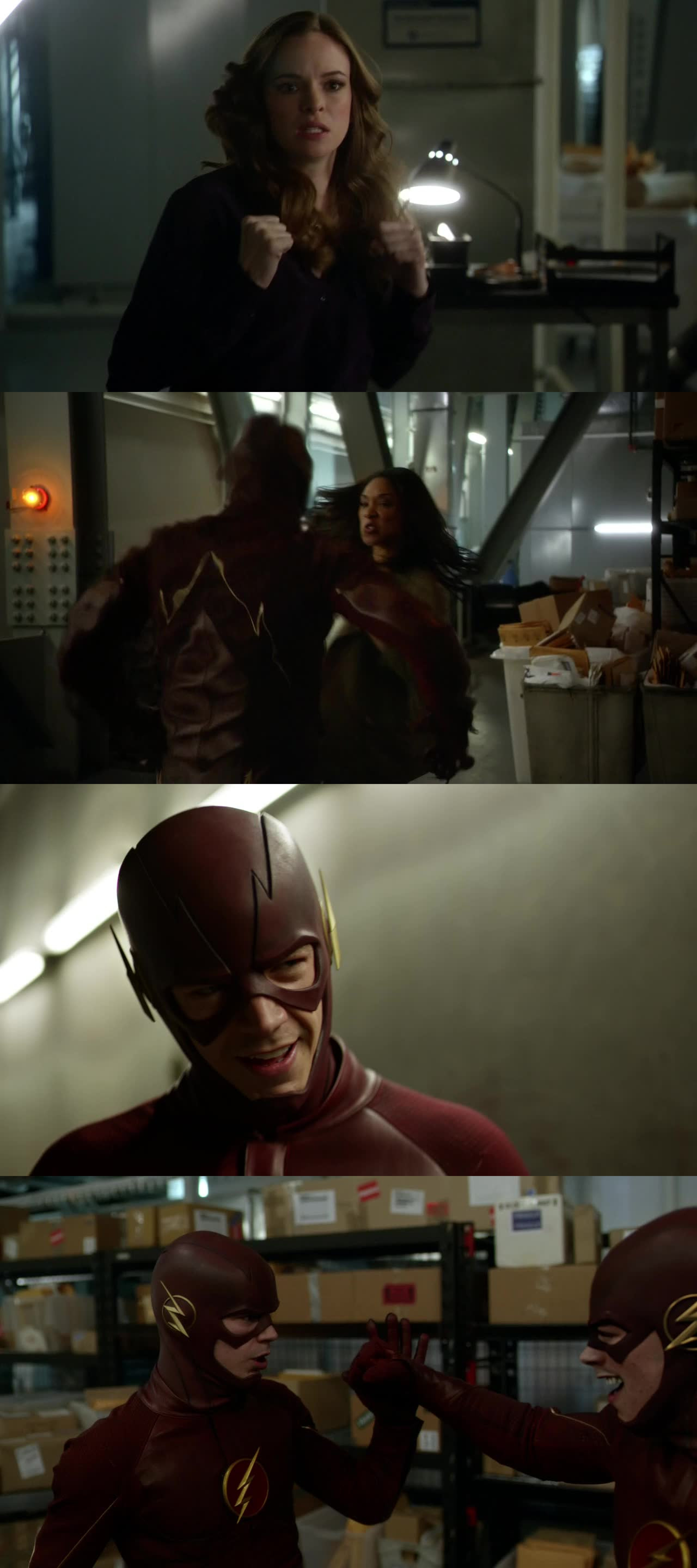 This was a fun scene! I'm glad we got to see Iris and Caitlin get in on the action. Then to see Barry fight himself, How fun!