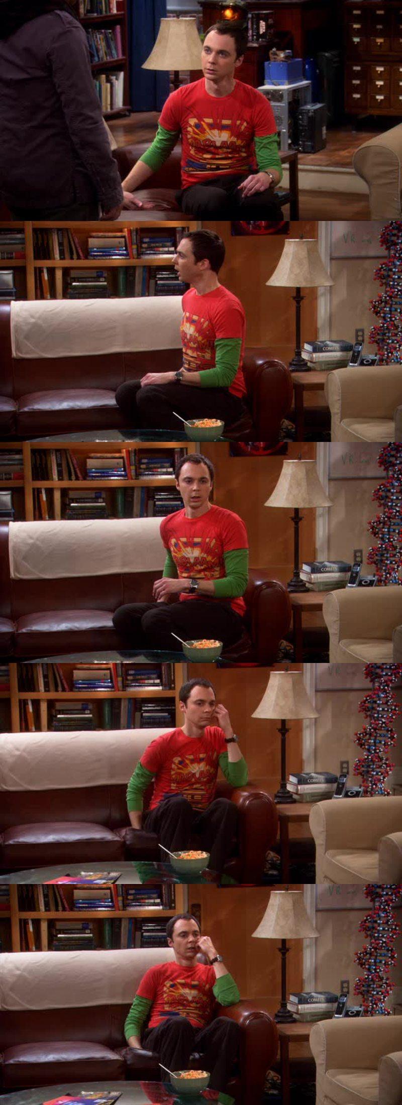 La gamma di espressioni di sconforto di Sheldon alla notizia che Leonard compra il suo pollo agli anacardi in un altro ristorante rispetto al solito da ben due anni: