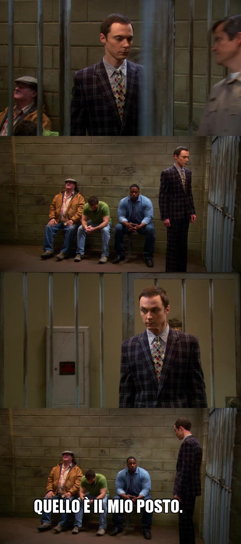 Anche in una cella Sheldon si fa riconoscere: