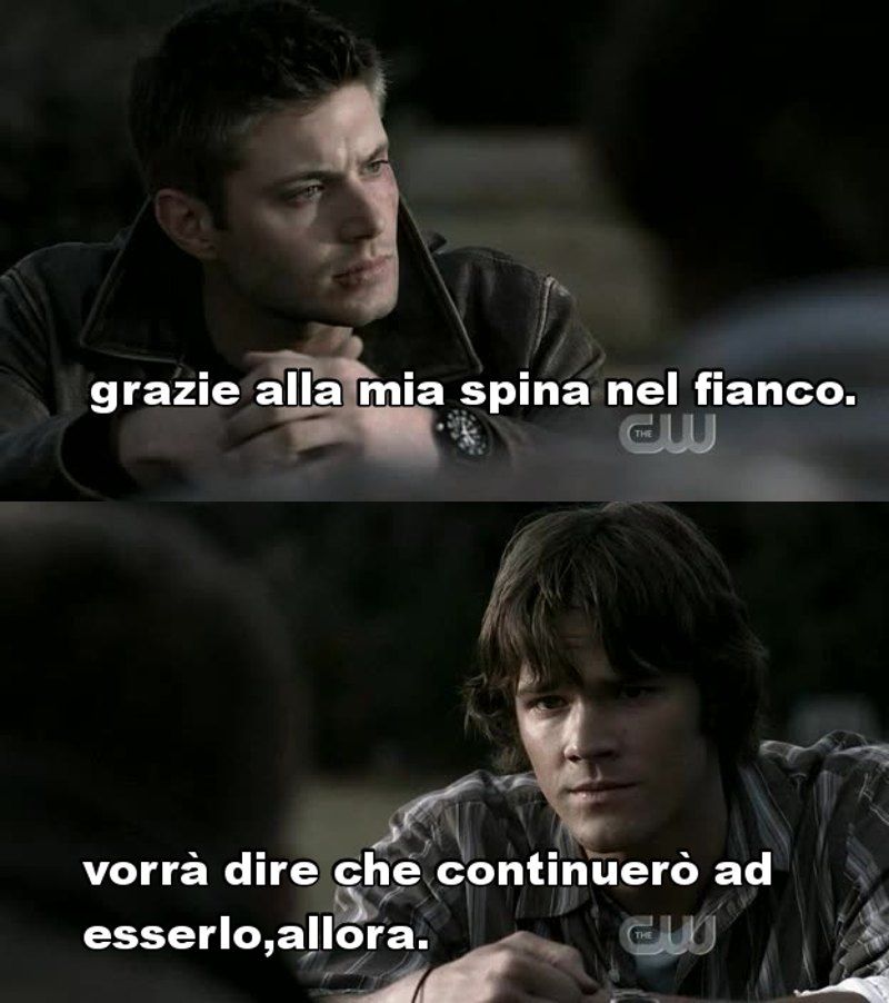 Ritorno dell'Impala 😍 Gordon non mi piace come cacciatore  ha quasi cambiato  Dean  in una persona aggressiva.  Vampiri vegetariani che teneri  Li amo sempre di più questi due👇👇👇❤