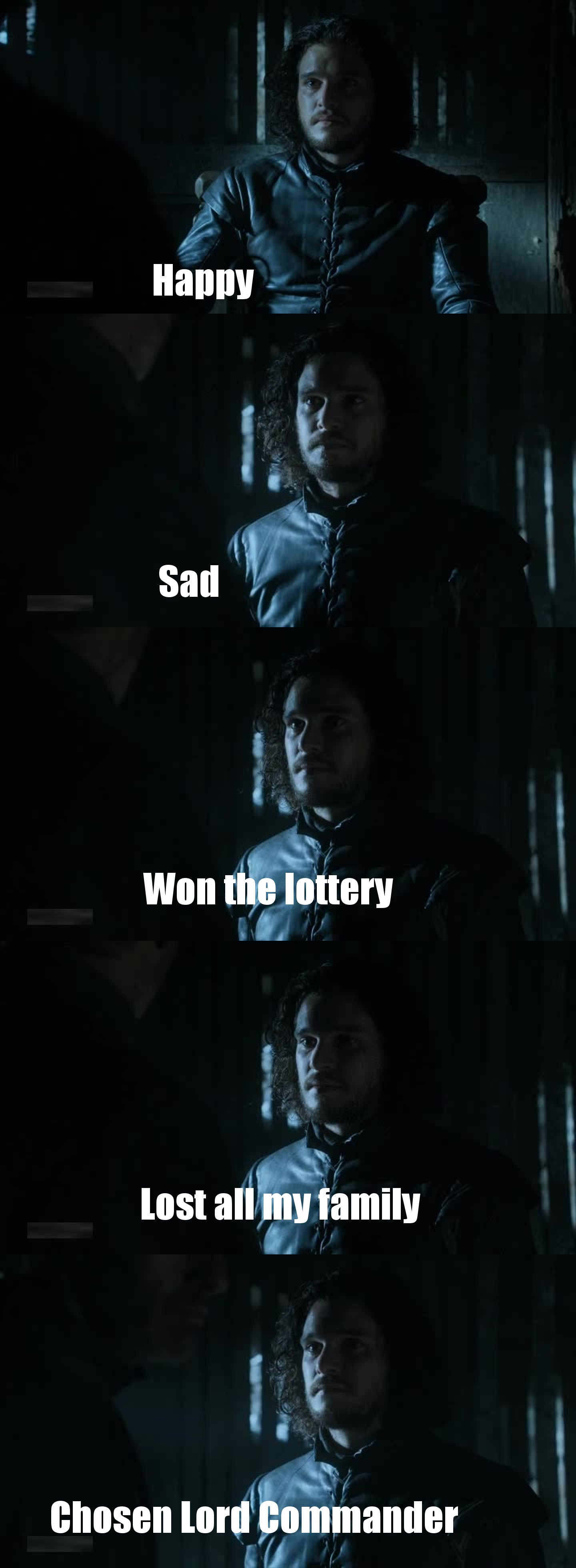 Jon Snow and his different expressions