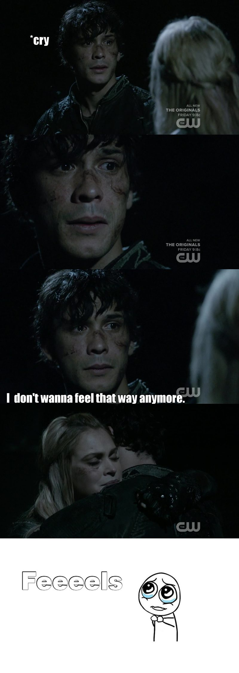In front of Octavia, he always act like the tough guy to protect his sister. But in front of Clarke, all we can see is that he is suffering and he has a good heart.  My heart when i saw him cry. 💔😢😭