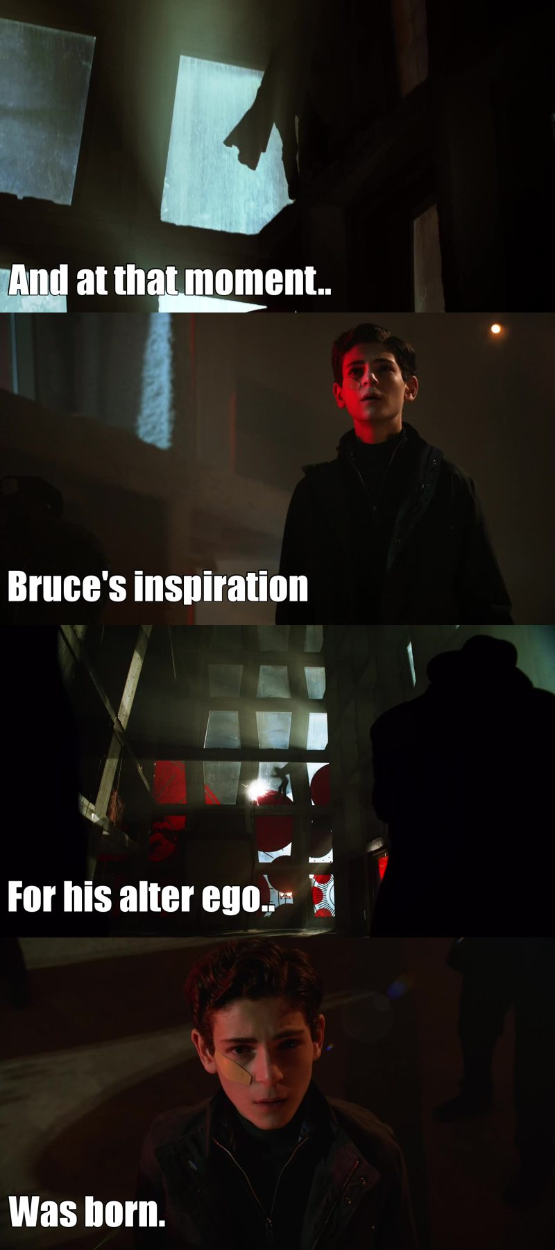 And at that moment, Bruce's inspiration for his alter ego ( Batman ) was born.