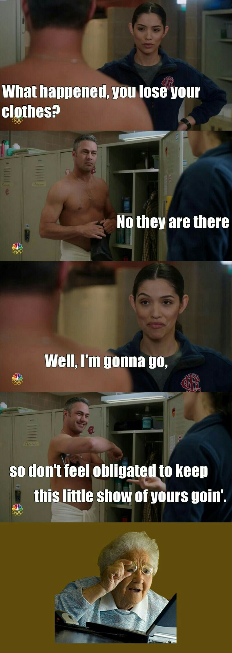 I loooved this scene and their chemistry! This could be such a fun a relationship for Severide for once!