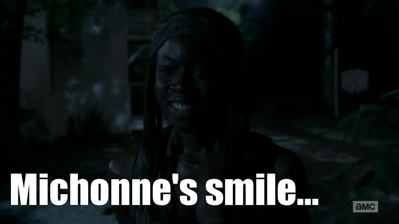 Michonne's smile is stunning :) it's so uncommon that when she smiles she's literally the image of happiness