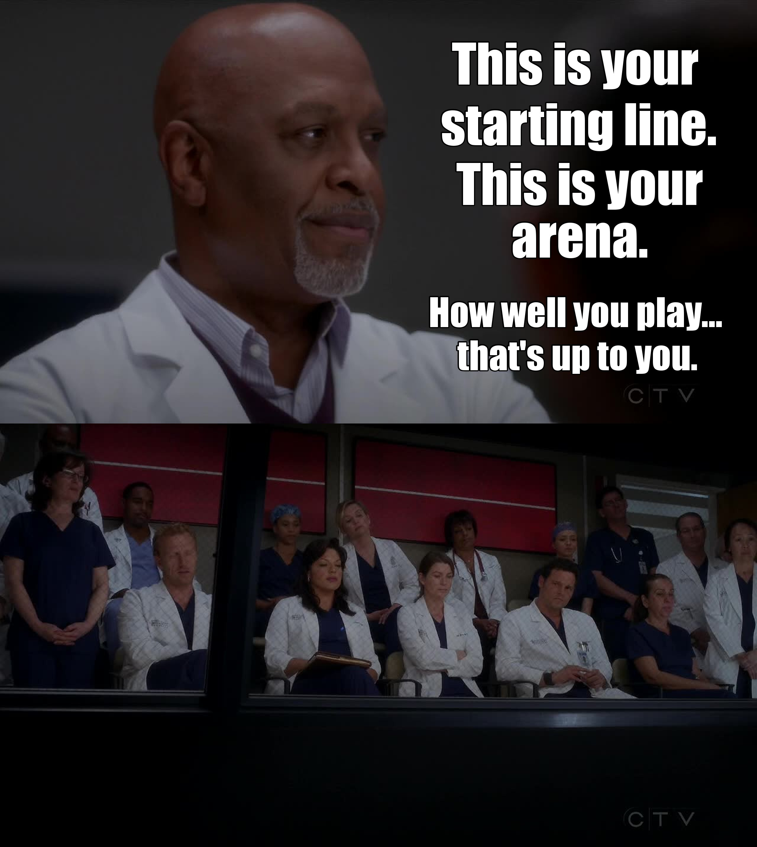 This was a great scene! Richard's speech is perfect, it's THE rite of passage for the new interns. I loved that everyone up there was mouthing the words.