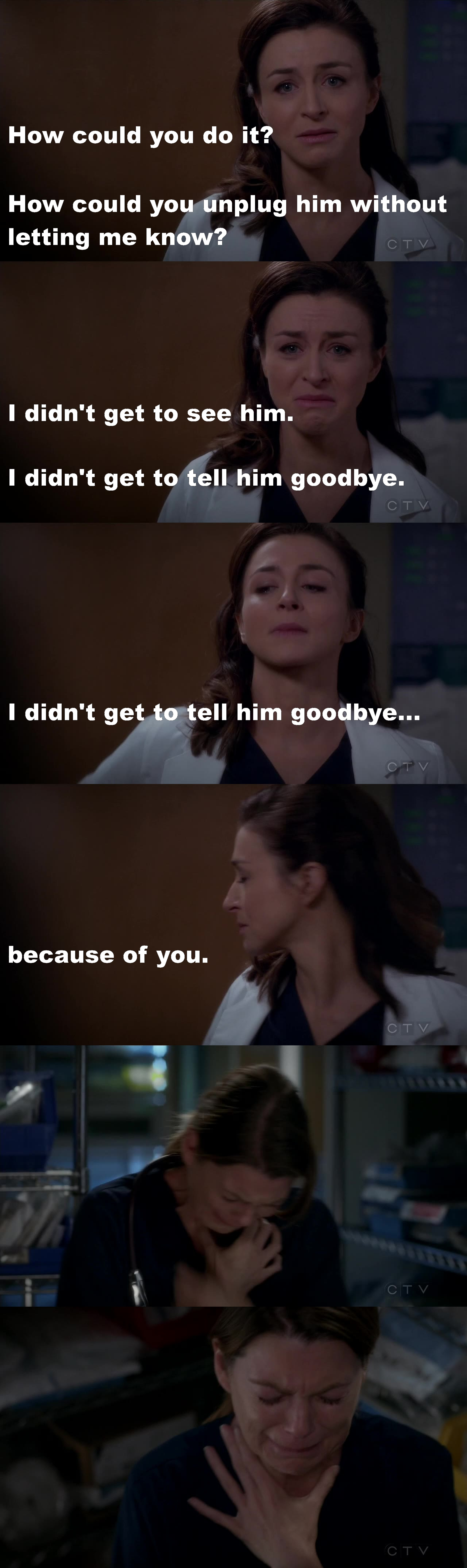 One of the best scenes ever, from  the point of view of acting. Watching Mer collapse, even though for a while, just broke my heart. And Caterina Scorsone was just... WOW!!! I'm even more speechless, episode after episode