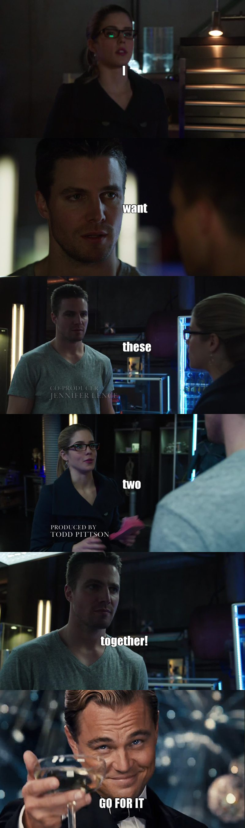 I wish Ollie would just give into his feelings for Felicity. I like Sara and all but I am team Olicity!!