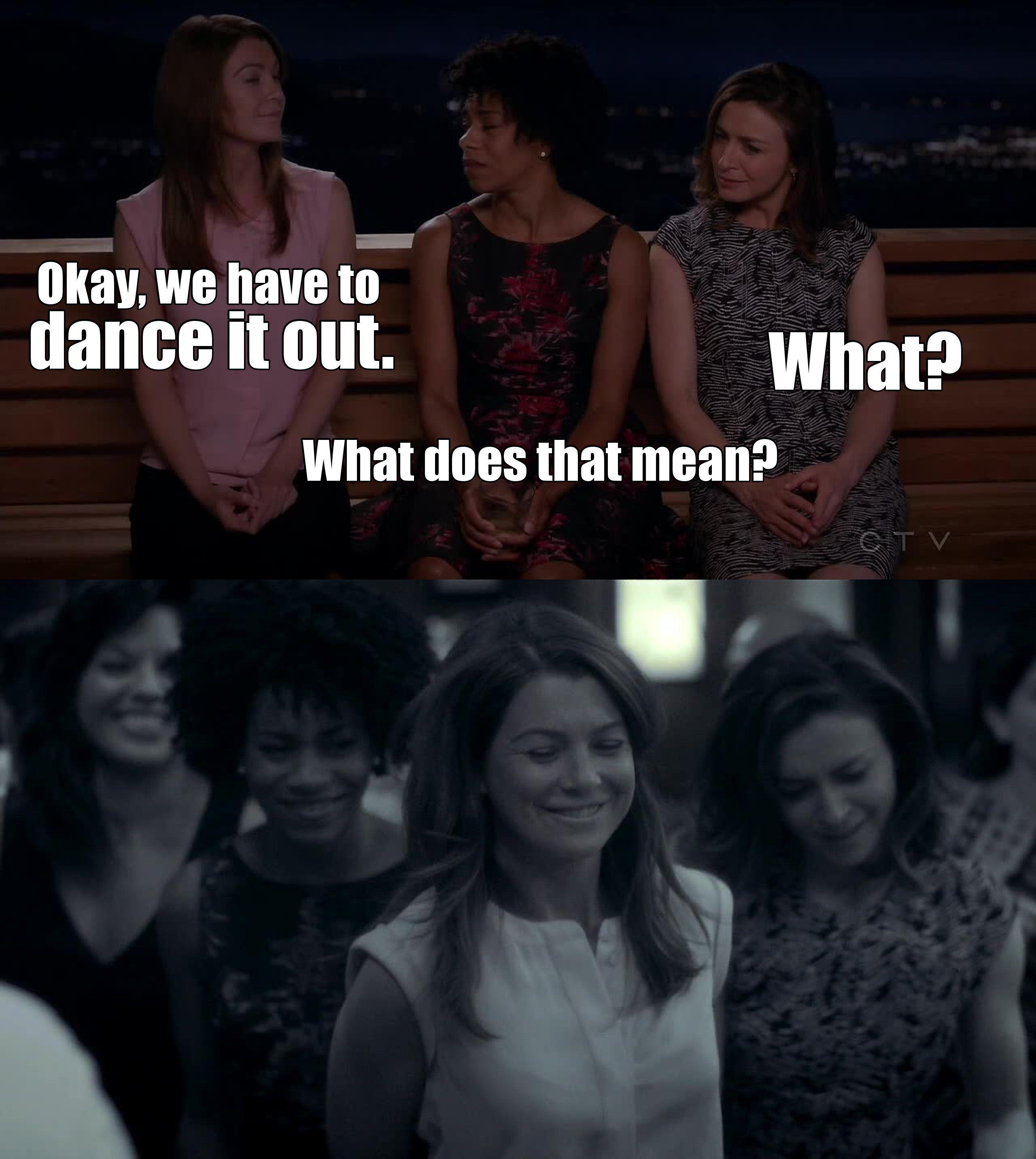 Let's dance it out, people!  *take a second to think about Cristina*
