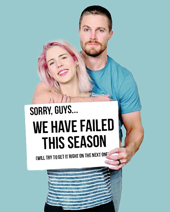 """So, Stephen Amell just tweeted this image...   This was a really really bad season. Anyone who disagree with that is a fanboy. All this mysticism that was the main thing on this season did not suited this show. On top of that, so many Felicity crap on this season. Her bouncing relationship with Oliver that comes and goes as her humor wants; her dad issues that went to family discussion on these two last episodes with Curtis being awkwardly in the middle of that; losing her company; that hacker bee nemesis that wanted to kill her; bringing back her hacker ex-boyfriend on these last episodes; her legs/walking problem... How about rename this show from """"Arrow"""" to """"Felicity""""?  All those flashbacks with Oliver took us NOWHERE! The only one that was actually good (and that was the best highlight of the season) was the one with Constantine.   Seriously, I miss season two. Slade Wilson made that worth watching. They should bring him back."""