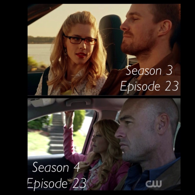 As a reminder of season 3 episode 23 😉☺️ Oliver and Felicity & Donna and Quentin on the way of a new life