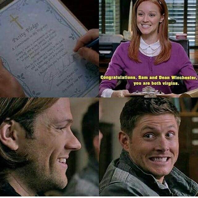 Ahahahahahaah😂  sam and dean are again virgins. Lol