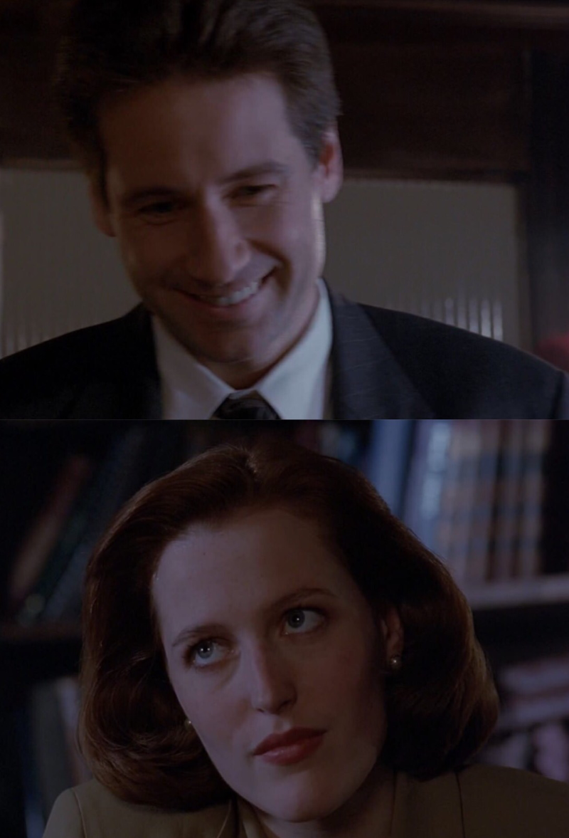 Ok Scully can take care of herself and this time Mulder was actually calling the cavalry but MAYBE he should stop sendig her alone where there's a really real danger But she probably forgive everything to this smile