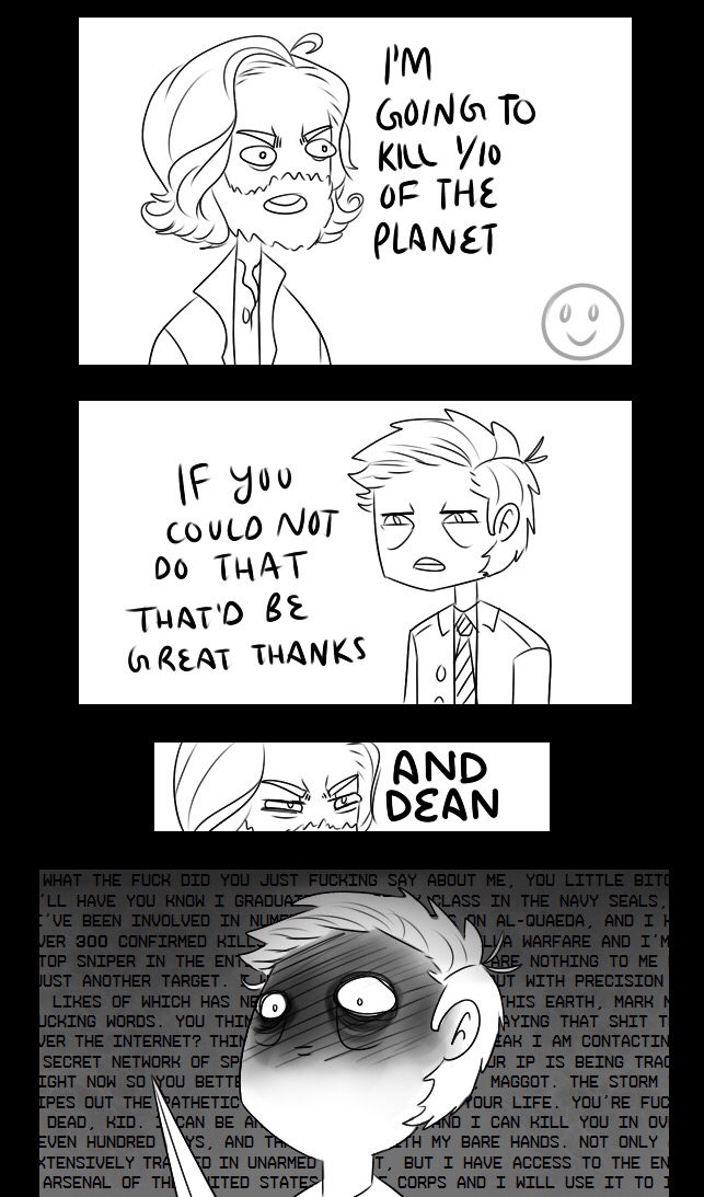 Cas is in love with 'humanity' but he barely flinches when Cain says he plans to kill 1/10 of the population. He even continues the conversation in a calm manner. But Cain says he plans to kill Dean and Cas pulls out his angel blade immediately. In love with humanity? More like in love with Dean Winchester.