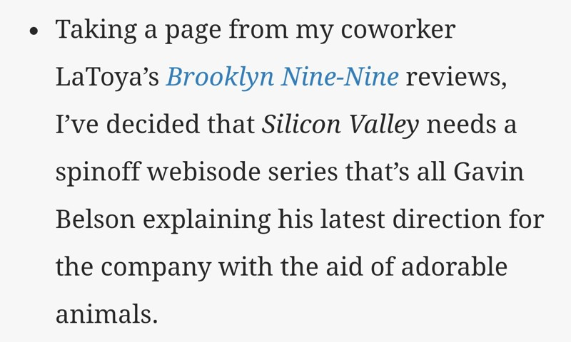 This part from AV Club's review wins. Hands down. :P