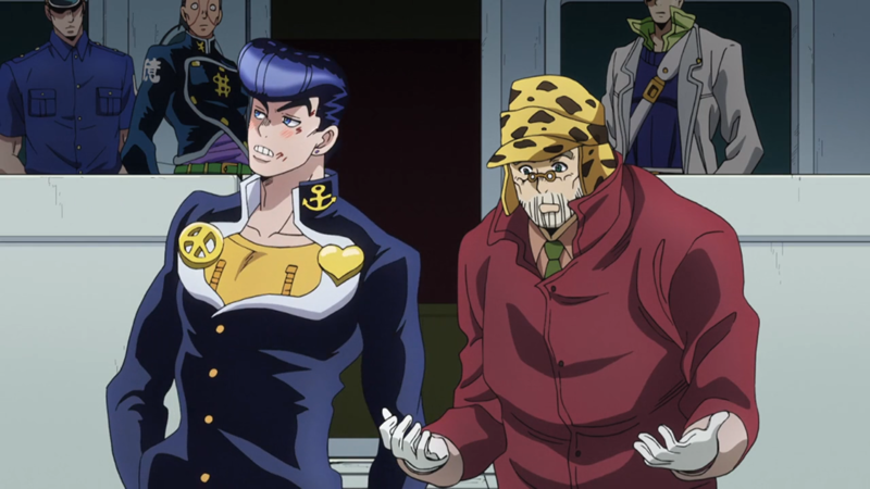 I was about to cry when Josuke met Joseph his father for the first time. He was afraid it'd be awkward for them but it was so touching. Glad to see Joseph again even though he aged! (^▽^)