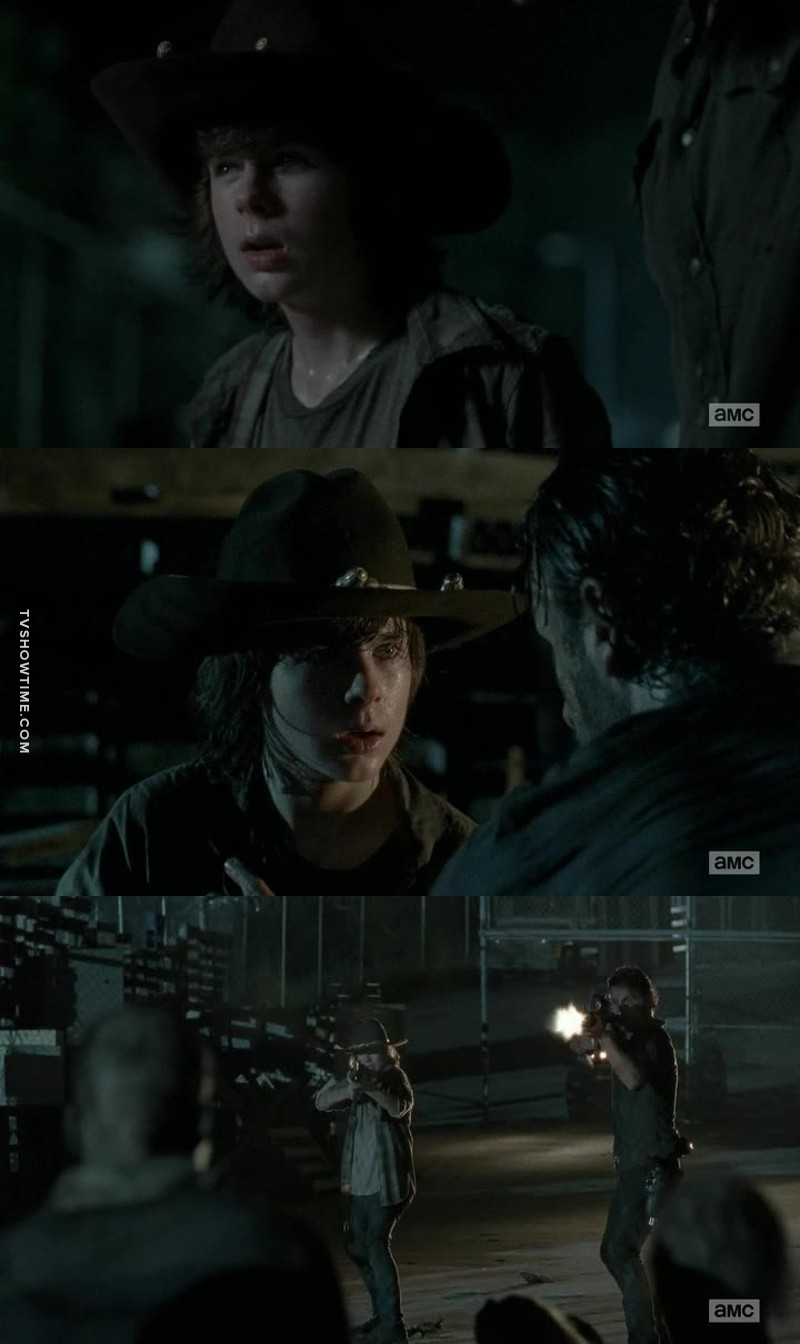 Carl changed from annoying kid to a really badass, strong, brave and cool kid! I think Rick is really proud of him !