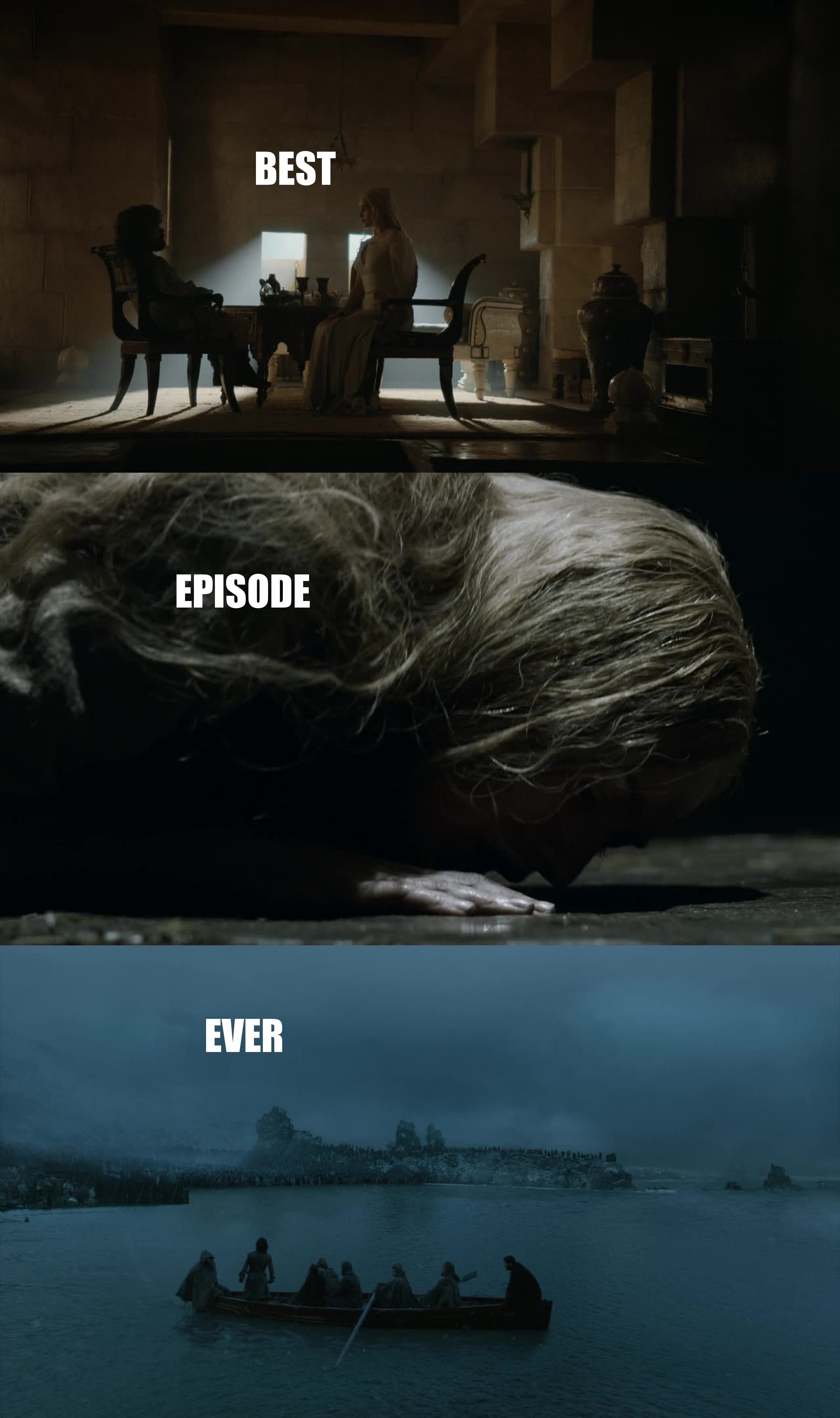 This was by far the best episode of Game of Thrones! The last scene ... omg ... I won't be able to sleep after that. And, for God sake .... HOW AM I SUPPOSED TO WAIT ONE WEEK FOR EPISODE 9!