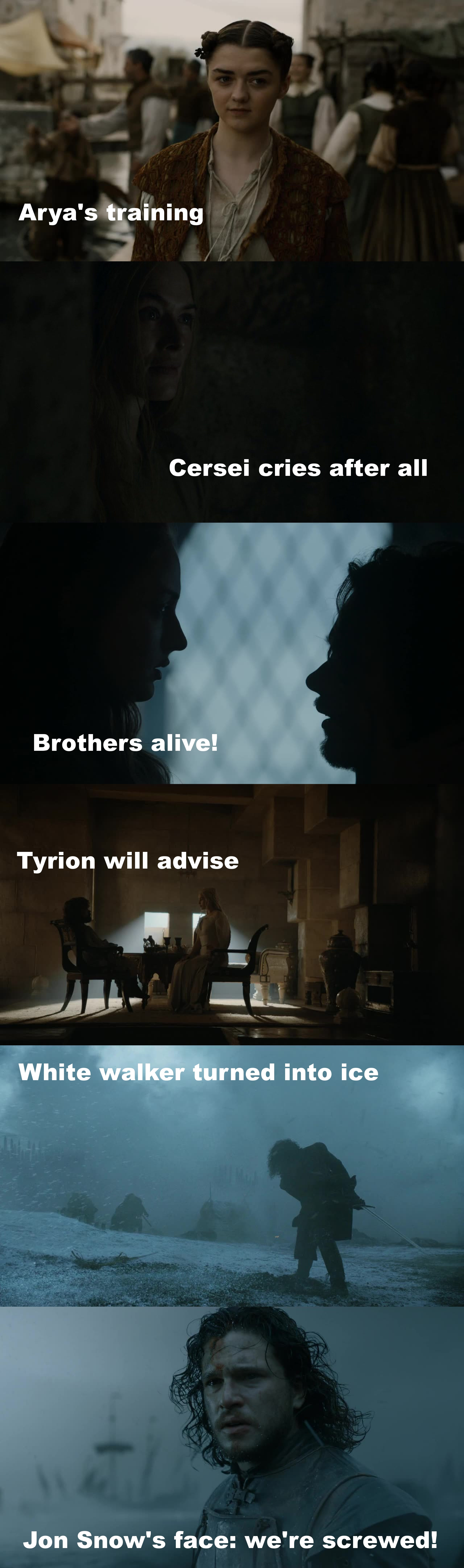 This episode was always rising, every minute better than the last one and in the end it just blew our minds... That last scene was the cherry on top. Jon Snow is growing so much. May he never let his sword out of his sight.