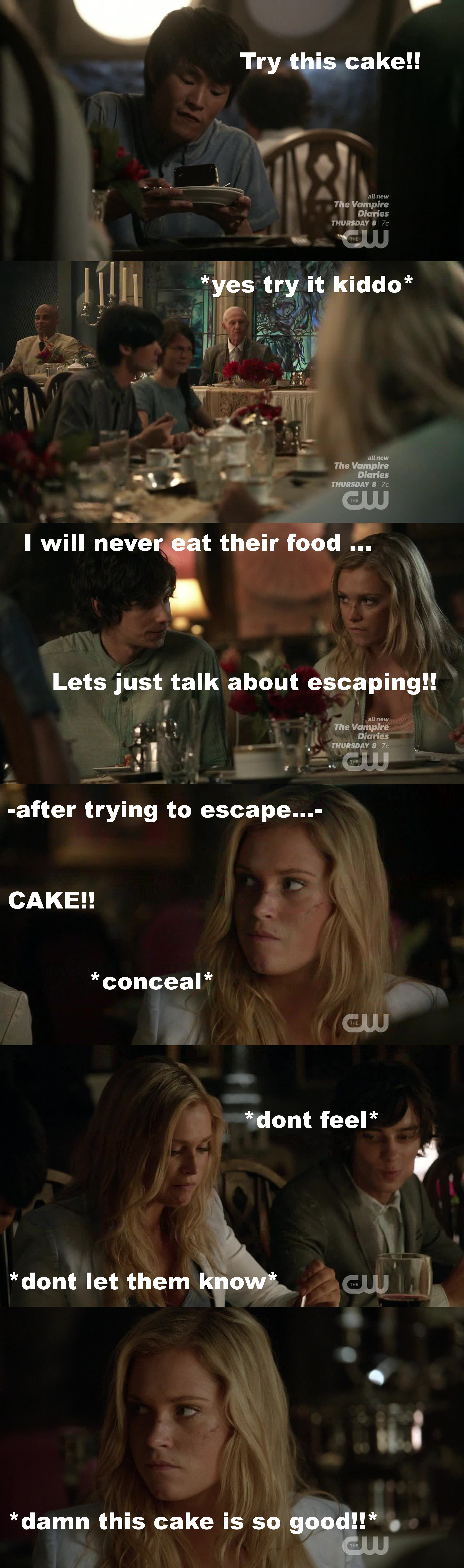 Episode 1 : Clarke trying to escape from the cake.