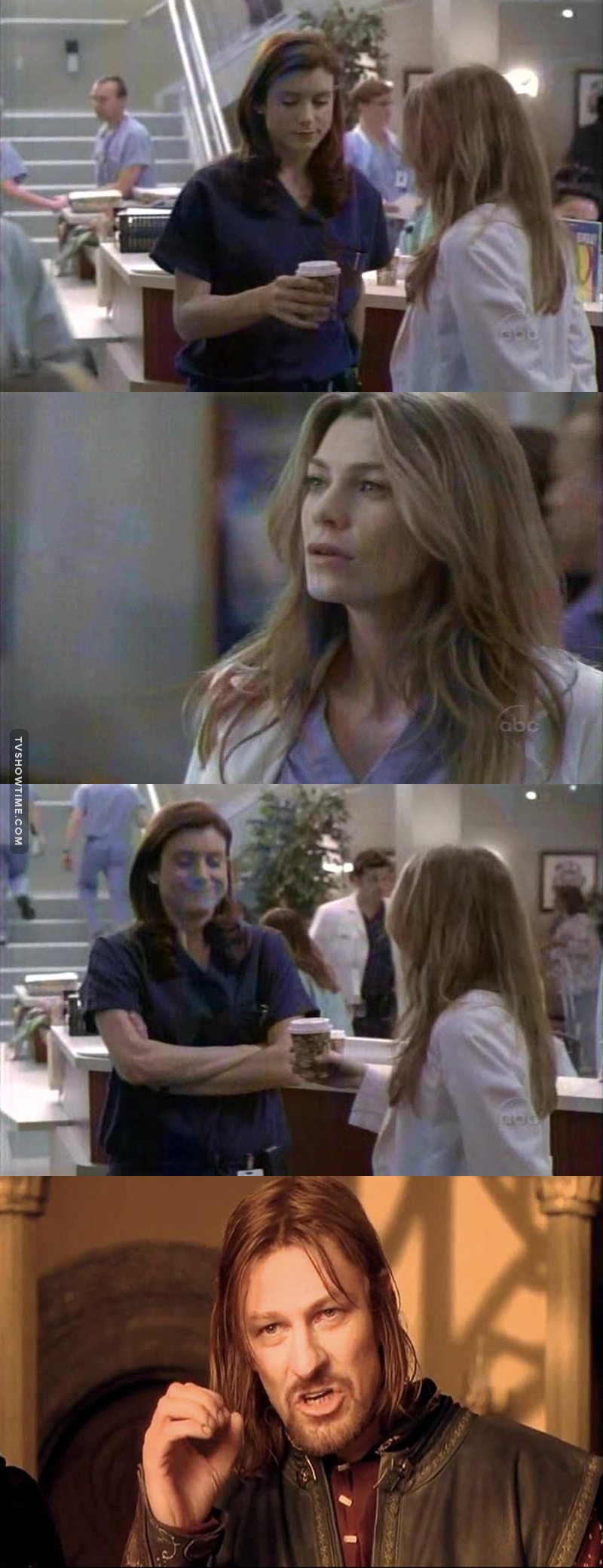 That moment when Meredith throws her coffee away