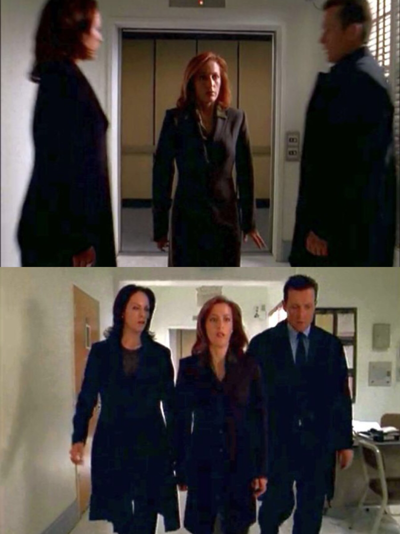 Who you are gonna call? Dana Scully! Yep she's the expert Love this shot in which they wait and follow her like her personal army